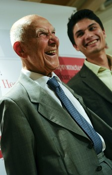 French diplomat Stephane Hessel (L) and Gilles Vanderpooten (R)